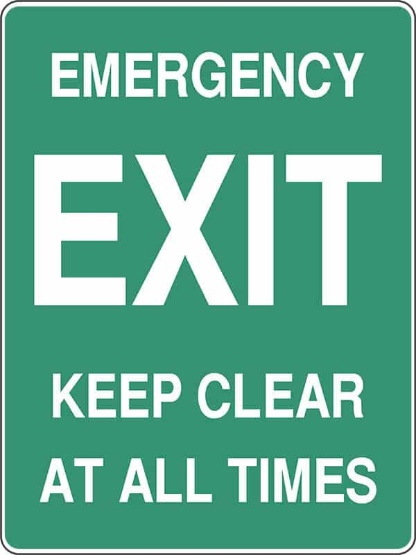 Emergency Exit Keep Clear At All Times Shop Safety Signs