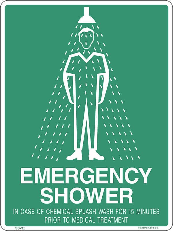 SS3A EMERGENCY SHOWER 15 MINS - signsmart - signs